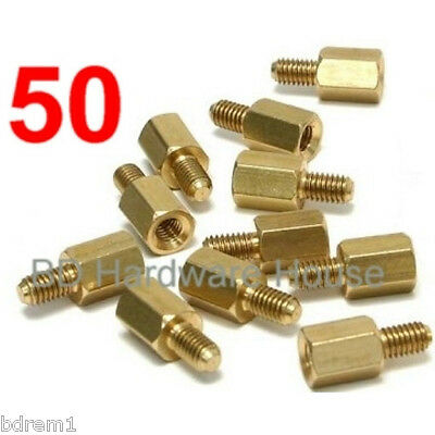 50 - Brass M3 X M3 Standoff Screws-Standoffs Screw Hex Spacer Lian Li