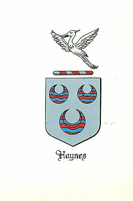 Great Coat of Arms Haynes Family Crest genealogy, would look great framed!