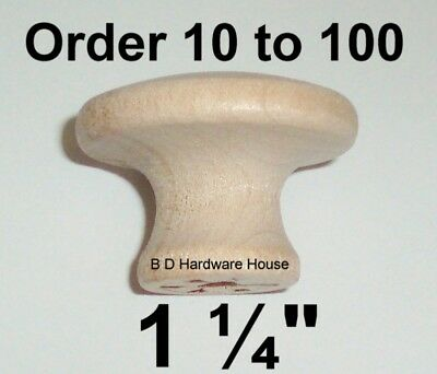 """1¼"""" - Birch Wood Cabinet Knob Pulls / Drawer Knobs - Select Option 10 to 100"""