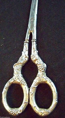 Gorham Sterling Handled Victorian Era Style Grape Shears -Highly Detailed Superb