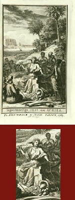 ANTIQUE PRINT-FRONTISPIECE-AFRICA-Isaac Tirion-1763