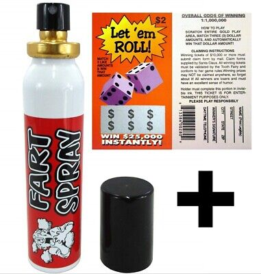 Fake Lotto Ticket + Liquid Fart Spray Can Stink Bomb Ass Stinky Gag Prank ~COMBO