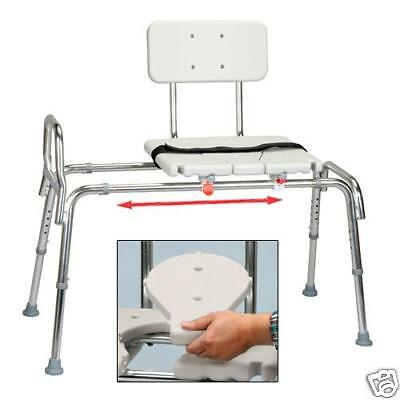 Snap-N-Save Sliding Transfer Bench 67311 w Cut Out & Seat Lock Bath Shower Chair
