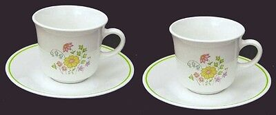 2 Corelle Spring MEADOW Cup & Saucer Sets Retired Cups Saucers Early Pattern