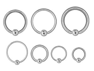 Captive Ring CBR - Steel - Ear Nipple Prince Albert etc Choose: 0.8mm up to 10mm