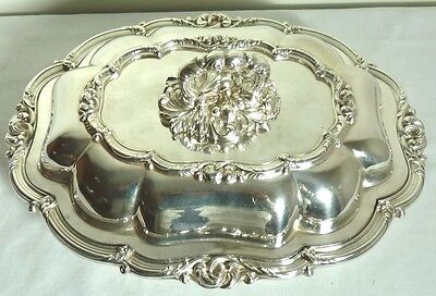 Scroll & Berry Design Covered Entree Dish Date Mark 1928 Elkington Plate