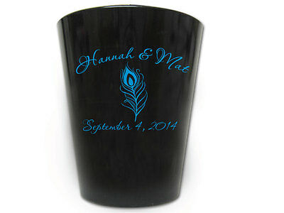 100 PERSONALIZED Peacock Feather Wedding FAVORS Plastic Shot Glasses Favor