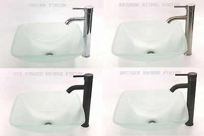 "17""x17"" Bathroom Frosted Square Glass Vessel Sink, 13"" tall Faucet (a19) & Drain"