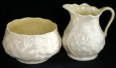 Irish Belleek Creamer w Sugar Lotus Pattern with Green Mark