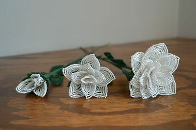 3 handmade French beaded Flowers white rose roses