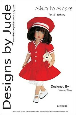 "Ship to Shore Doll Clothes Sewing Pattern 12"" Bethany Kish Dolls"