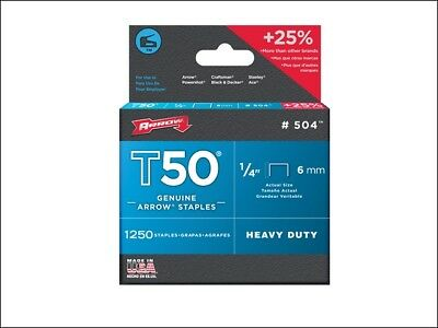 ARROW T50 STAPLES PACKS OF 1250 STAPLES - 6, 8, 10, 12 & 14mm Available