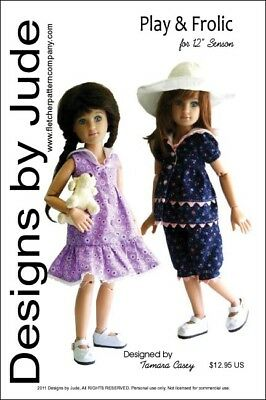 "Play & Frolic Doll Clothes Sewing Pattern for 12"" Senson Dolls"