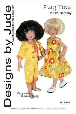 "Play Time Doll Clothes Sewing Pattern for 12"" Bethany Kish Dolls Designs by Jude"