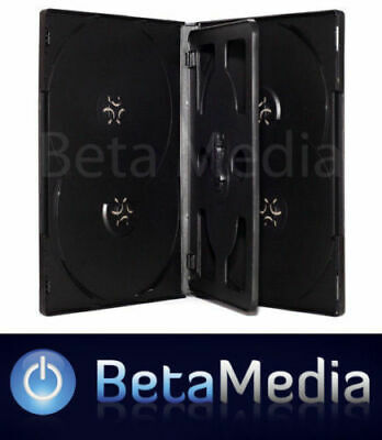 100 x Black 14mm ** HOLDS 6 Discs ** Quality CD / DVD Cover Cases