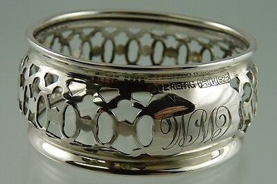 "ELLIS BROS & RODEN BROS STERLING PIERCED NAPKIN RING ""CWM"" 1900-1940"