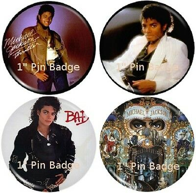 Michael Jackson - Picture Disc  Badge Set of 4 NEW Pack