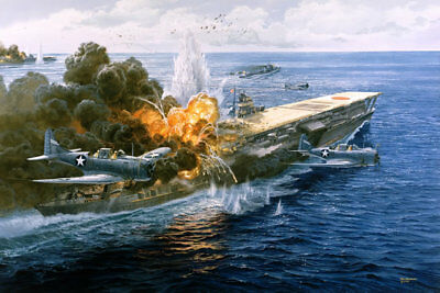 """Pawn Takes Castle"" Tom Freeman Artist Proof - Battle of Midway, Attack on Akagi"