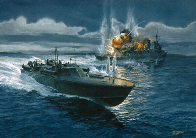 """""""Action in the Slot"""" Tom Freeman WWII PT Boat Artist Proof - PT-124 Pacific 1943"""