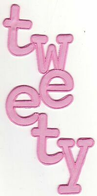 Pink Vertical Word Tweety Cartoon Character Name Embroidery Applique Patch