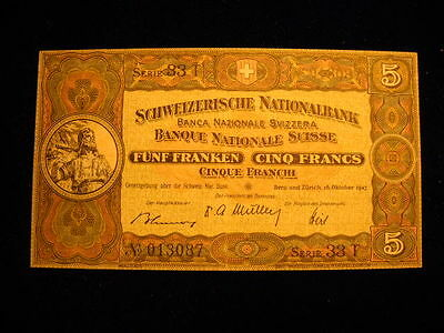 SWITZERLAND 5 FRANCS 1947 P11m - EXTREMELY FINE