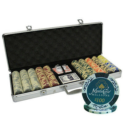 500pcs 14G MONTE CARLO MILLIONS POKER CHIPS SET ALUM CASE
