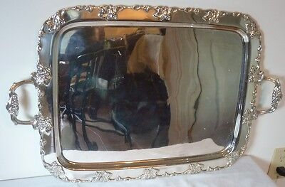 """SILVER PLATE RECT. 26"""" BY 16 1/2"""" GRAPE, LEAF & VINE SERVING TRAY BY WMF"""