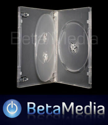 100 x Triple Clear 14mm Quality CD / DVD Cover Cases - HOLDS 3 Discs