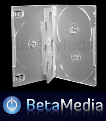 100 x Clear 14mm ** HOLDS 5 Discs ** Quality CD / DVD Cover Cases