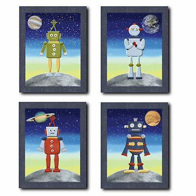 Outer Space Robots WALL ART FOR NURSERY, children, kids, boys room bedding decor