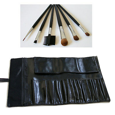 Black Faux Leather Cosmetics Brushes Makeup Case Bag Holder Pouch Roll New Gift