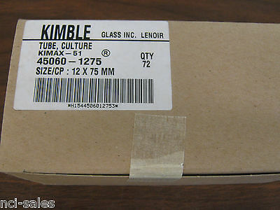 Kimble Tube, Culture 45060-1275, Kimax-51, Size/Cp: 12 X 75Mm, Qty 72