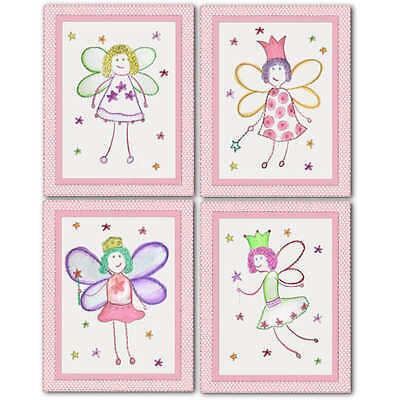 Fairy Princess nursery bedding artwork art decor PRINTS for baby girl kid