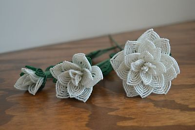 3 handmade French beaded Flowers white opal rose roses