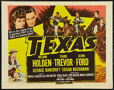 TEXAS original 22x28 rolled movie poster GLENN FORD/WILLIAM HOLDEN/CLAIRE TREVOR