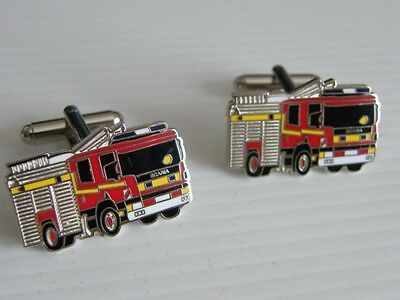 Big Fire Engine Badge Cufflinks Emergency Service Gift In Pouch See Options