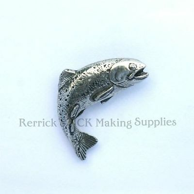 One Pewter Badge For Walking Stick Making Leaping Trout
