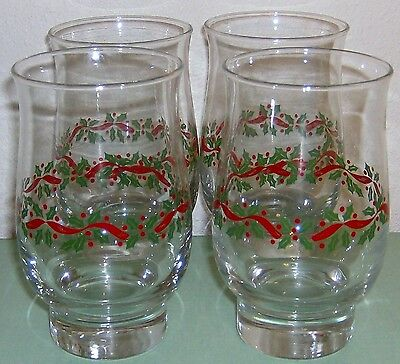 Holly &  Berries Holiday Glasses Tumblers Set of 4  Red Green Gold VGC Vintage