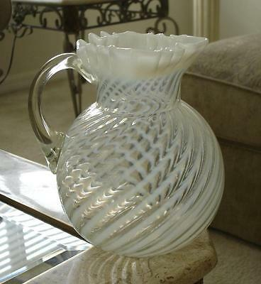 Northwood White Opalescent Swirl Water Pitcher with Star Shaped Crimp