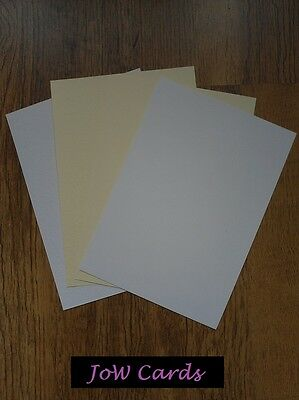 A4 Sheets of Matt, Hammer, Hammered, Linen Card - 260 gsm - White or Ivory