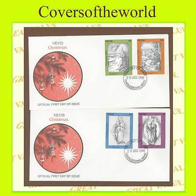 Nevis 1991 Christmas, Albert Drurer paintings set on two First Day Covers