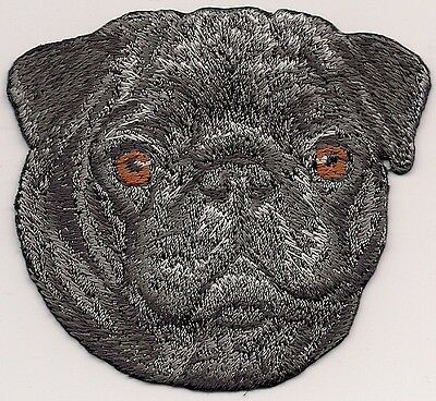 """2 1/2"""" x 2 7/8"""" Black Pug Dog Breed Portrait Iron On Embroidery Applique Patch"""