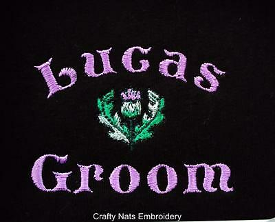 Personalised Groom/father/bestman/usher Thistle/kilt Celtic Black Boxer Shorts
