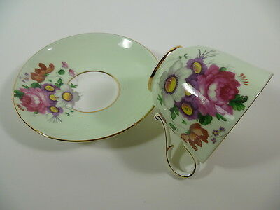 Paragon Queen Mary Fine Bone China Pink Rose Purple Floral Cup & Saucer