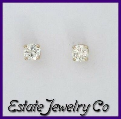 14k Yellow Gold Round Diamond Solitaire Stud Earrings .20ct 1/5ct