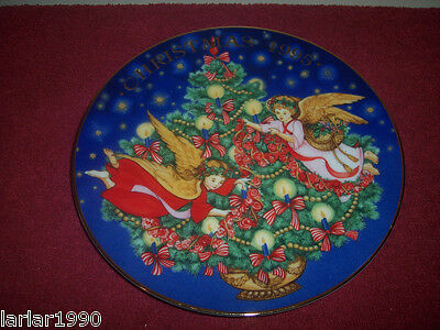 "Avon 1995 ""trimming The Tree"" Cobalt Christmas Collectors Plate"