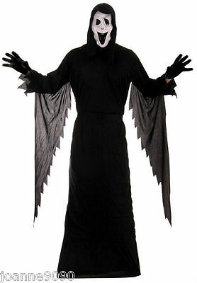 Mens Adult Demon Ghost Scream Fancy Dress Halloween Costume And Mask