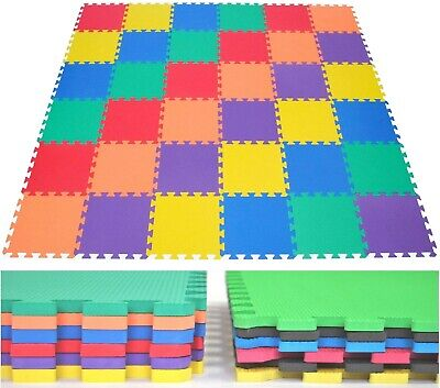 SET of 36 Rainbow Wonder Mat Non-Toxic Kids Puzzle Playmats Soft Foam Tiles 116