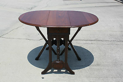 Unusual Walnut Victorian Mechanical Drop Leaf Table with 2 Drawers ~ Ca.1880