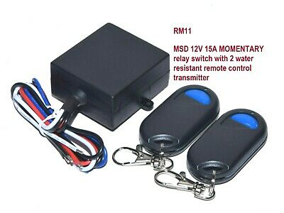 MSD 12V DC MOMENTARY CONTACT SWITCH with 2 x WIRELESS FOB REMOTE CONTROL RM11